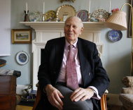 FILE - In a Feb. 27, 2012, file photo, Roger Bannister sits at his home during an interview with The Associated Press, in Oxford, England. Bannister, the first person to break the four-minute mile, was sitting with Sebastian Coe, a two-time Olympic champion in the 1,500 meters and the head organizer of the London Game, at Olympic Stadium on Tuesday night, Aug. 7, 2012, watching as Algeria's Taoufik Makhloufi won the men's 1,500. (AP Photo/Alastair Grant, File)