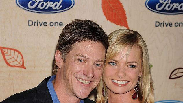 "Kevin Rahm and Jaime Pressly attend the ""FOX Fall Eco-Casino Party"" at Book Bindery on September 12, 2011 in Culver City, California."
