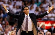 Miami Heat head coach Erik Spoelstra reacts to a play during game five of the NBA Eastern Conference second-round playoff series against the Indiana Pacers on May 22. The NBA has fined Spoelstra $25,000 for critical public comments on the officiating of the game