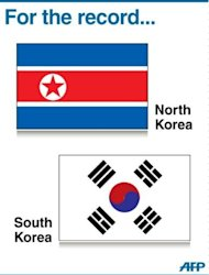 Graphic showing the flags of North Korea and South Korea. The 2012 Olympics got off to an embarrassing start when North Korea's women footballers refused to play after a mix-up over their national flag