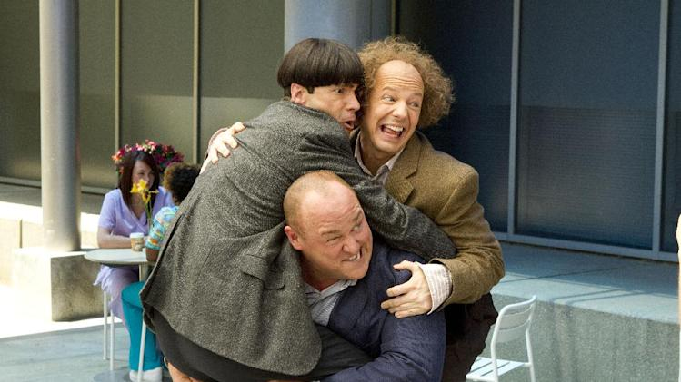 "In this image released by 20th Century Fox, clockwise from left, Chris Diamantopoulos, Sean Hayes and Will Sasso are shown in a scene from ""The Three Stooges."" (AP Photo/20th Century Fox, Peter Iovino)"
