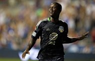 MLS All-Stars' Eddie Johnson celebrates after scoring a winning goal during their exhibition game against Chelsea in Pennsylvania on July 25. Chelsea suffered a shock 3-2 defeat to a Major League Soccer all-star team in an exhibition game, thanks to a late goal from Johnson