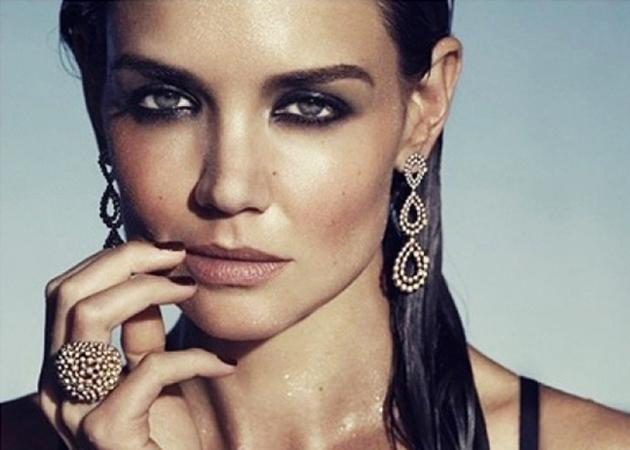 Celebrity advertising campaigns: Katie Holmes sexies up statement jewellery for H.Stern with smokey, smudged eyes and a stare that speaks volumes.