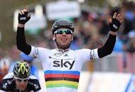 Britain's Mark Cavendish, of team Sky Procycling celebrates as he wins the second stage of the Giro d'Italia. Cavendish showed his sprint rivals he is still the man to beat as he won the second stage around Herning on Sunday