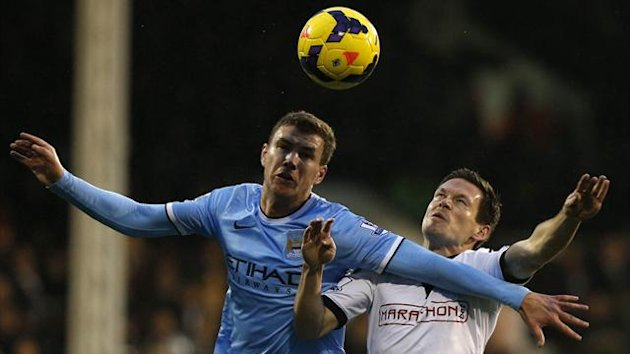 Fulham v Manchester City - Dzeko and Riether