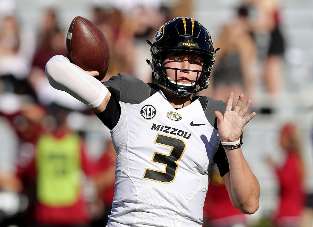 Missouri QB Drew Lock became the ire of South Carolina fans during a touchdown in the first half. (Getty)