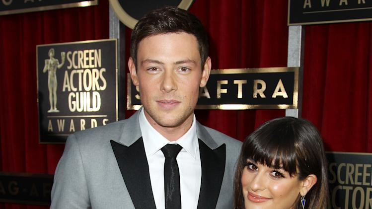 "FILE - In this Jan. 27, 2013 file photo, Cory Monteith, left, and Lea Michele arrive at the 19th Annual Screen Actors Guild Awards at the Shrine Auditorium in Los Angeles. Lea Michele is breaking her silence online after her ""Glee"" co-star and real-life boyfriend Cory Monteith died of an overdose earlier this month. The actress posted a photo of her and Monteith on Twitter Monday along with a message thanking her followers for ""helping me through this time with your enormous love & support."" Monteith was found dead in Vancouver, British Columbia, on July 13. An autopsy revealed the 31-year-old actor died of an overdose of heroin and alcohol. He and Michele played an on-again/off-again couple in the popular Fox series and were an off-screen couple for about a year. (Photo by Matt Sayles/Invision/AP, File)"
