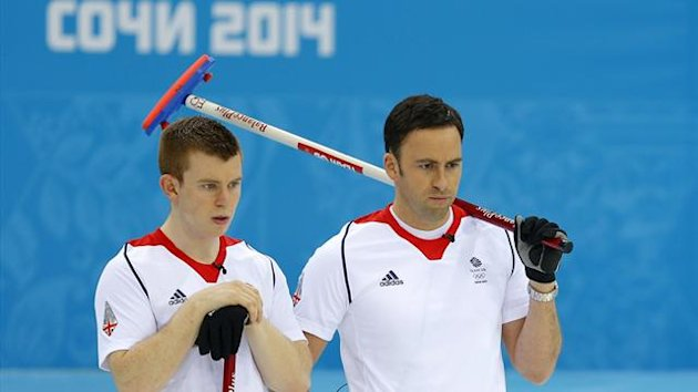Britain's vice Greg Drummond (l) and Britain's skip David Murdoch (r)