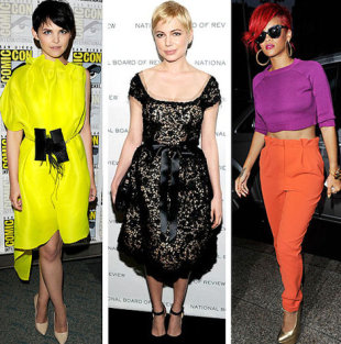 2011 in style- Michelle Williams in a 50s style dress, Rihanna color blocks and Ginnifer Goodwin takes a risk in shocking yellow