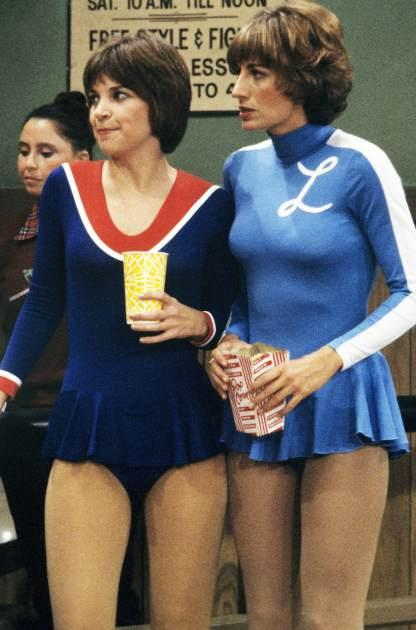 Penny Marshall (right), as Laverne De Fazio, and Cindy Williams as Shirley Feeney in the American TV sitcom 'Laverne & Shirley', circa 1977 -- Getty Images