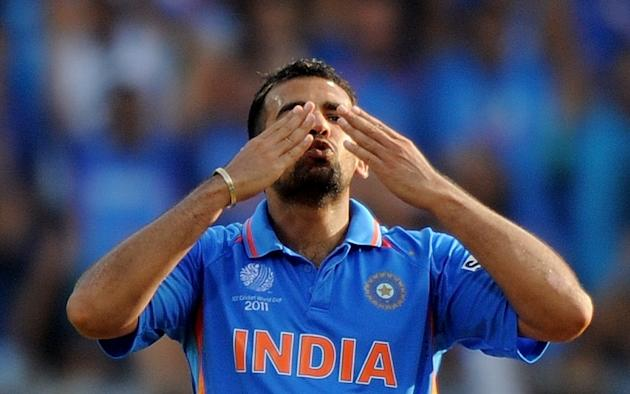 Indian fastbowler Zaheer Khan reacts aft
