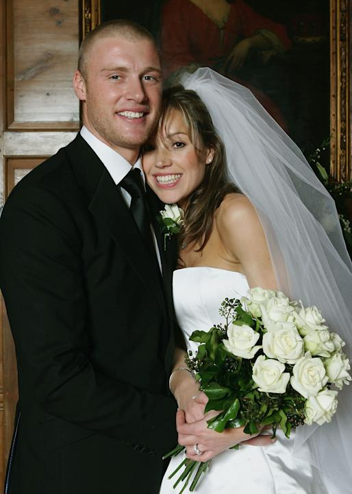 LONDON - MARCH 5:  England Cricketer Andrew Flintoff poses for pictures with his new wife Rachel Wools after their wedding on March 5 2005 in Kensington, London, England.  (Photo by Tom Shaw/Getty Ima
