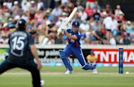 England's Alastair Cook hits a shot during the International One Day Cricket match between New Zealand and England played in Hamilton on Febuary 17, 2013. Captain Brendon McCullum led New Zealand to a dramatic three-wicket win over England with heroic support from an injured Martin Guptill