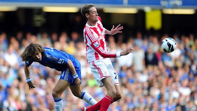2012 Chelsea v Stoke - David Luiz and Peter Crouch