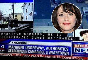 Fox news broadcast; Zooey Deschanel | Photo Credits: Twitter; Amanda Edwards/WireImage