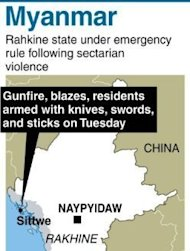 A state of emergency is in place in Rakhine state where clashes have caused dozens of deaths and forced hundreds of people from both sides to flee their homes since Friday