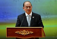 Myanmar President Thein Sein speaks during the closing ceremony and handover of the ASEAN Chairmanship to Myanmar as part of the 23rd Summit of the Association of Southeast Asian Nations (ASEAN) in Bandar Seri Begawan on October 10, 2013