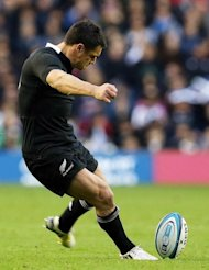 "Dan Carter kicks a penalty during a International Rugby Union match on November 11. ""Yes I'm surprised England haven't done more since 2003. They've shown the strength of their side only in patches since then,"" he said"