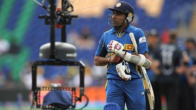 Sri Lanka's Mahela Jayawardene looks dejected as he leaves the field of play after losing his wicket during the ICC Champions Trophy match at the SWALEC Stadium, Cardiff (PA)