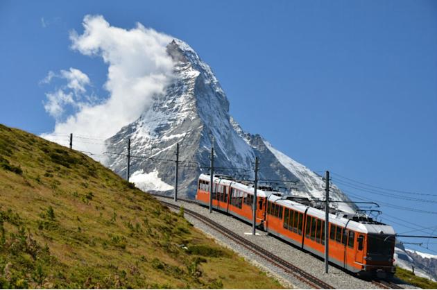 Gornergrat train and Matterhorn mountain. Switzerland Alps