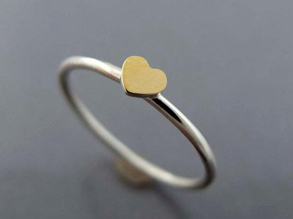 Tiny Gold Heart Valentine Ring