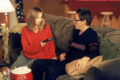 "Ally (Calista Flockhart, L) and Larry (Robert Downey Jr., R) get in the holday spirit on the ""'Tis The Season"" episode of Ally McBeal Ally McBeal"