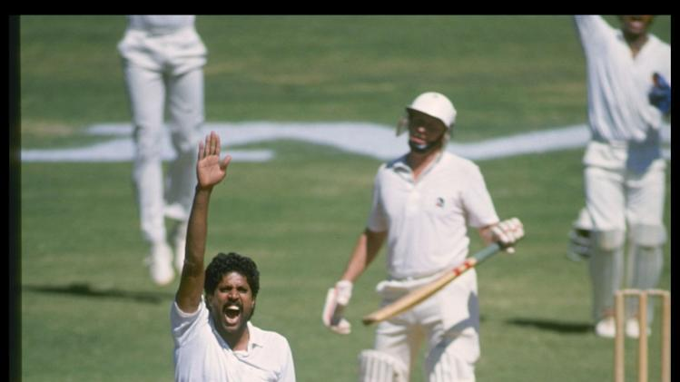 Kapil Dev appeals for a wicket during the first test against New Zealand