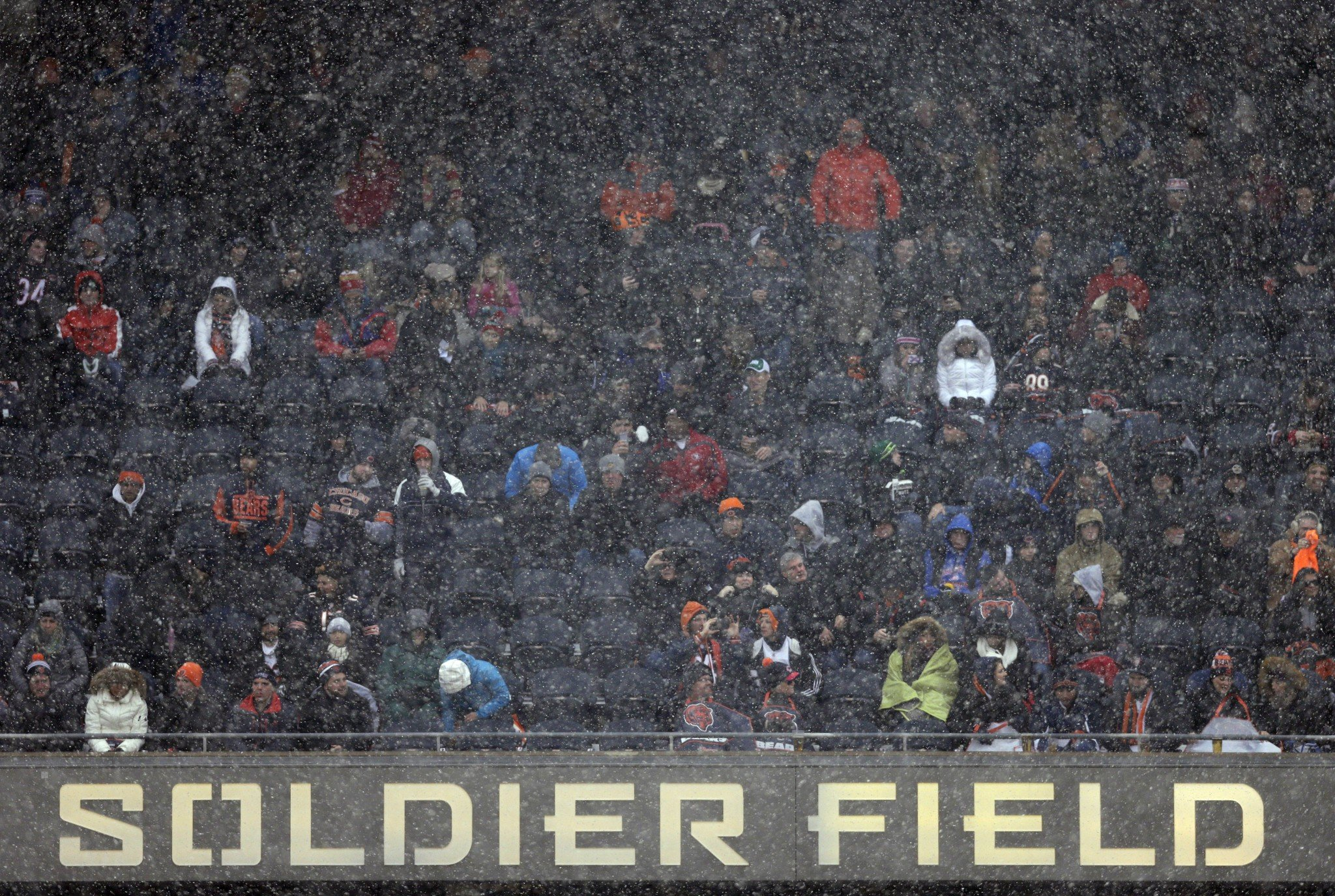 Soldier Field is covered in snow, and that affected one San Francisco 49ers scoring play. (AP)