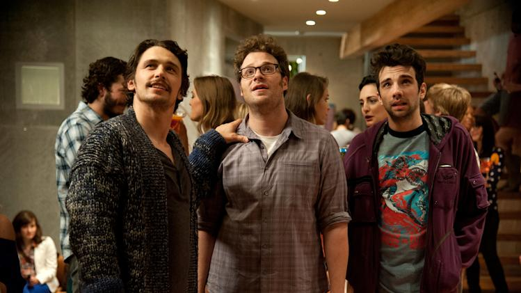 "This film publicity image released by Columbia Pictures shows, from left, James Franco, Seth Rogen and Jay Baruchel in a scene from ""This Is The End.""  (AP Photo/Columbia Pictures - Sony, Suzanne Hanover)"