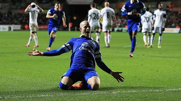 Ross Barkley celebrates scoring the winner