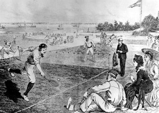 circa 1890: The first National Lawn Tennis tournament at Staten Island, USA.