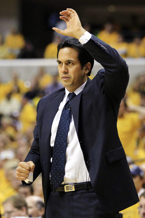 Miami Heat coach Erik Spoelstra calls a play during the first half of Game 6 of their NBA basketball Eastern Conference semifinal playoff series against the Indiana Pacers, Thursday, May 24, 2012, in