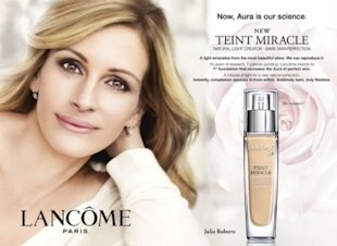 This Lancome ad featuring Julia Roberts was banned for being overly airbrushed.