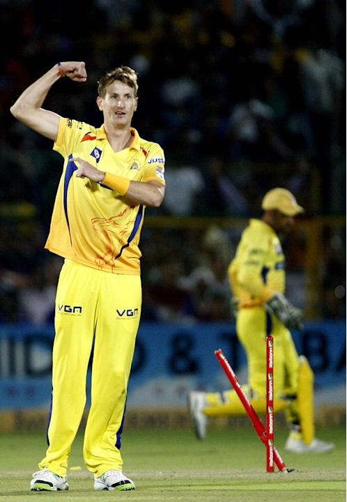 Chris Morris in action during the CLT20 1st Semi-Final between Rajasthan Royals and Chennai Super Kings at Sawai Mansingh Stadium in Jaipur on Oct. 4, 2013.