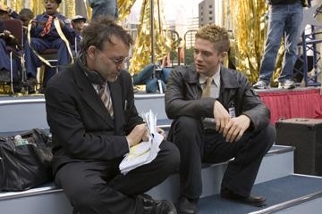 Director Sam Raimi and Topher Grace on the set of Columbia Pictures' Spider-Man 3