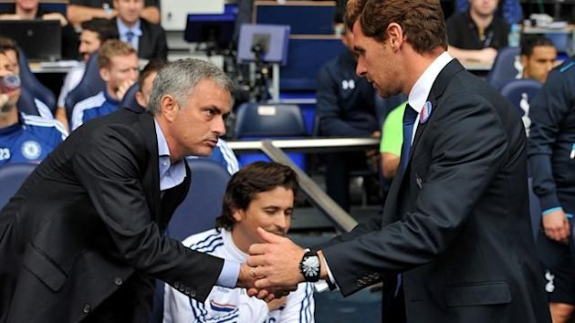 Andre Villas Boas shakes hands with Jose Mourinho (PA Photos)
