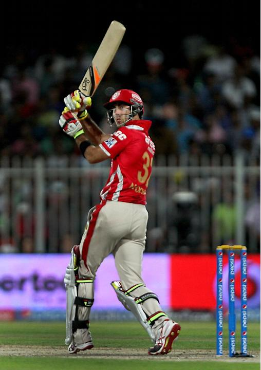 Kings XI Punjab batsman Glenn Maxwell in action during the seventh match of IPL 2014 between Rajasthan Royals and Kings XI Punjab, played at Sharjah Cricket Stadium in Sharjah of United Arab Emirates