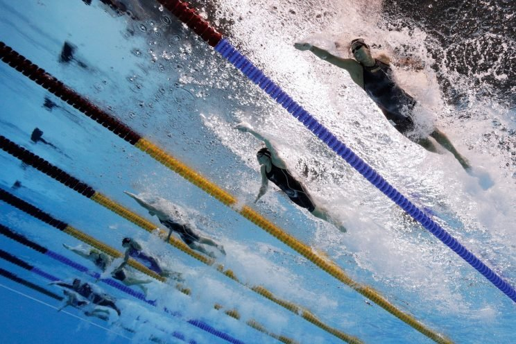 Researchers say that a current running through the pool may have unfairly helped swimmers in the outside lanes. (Getty)