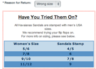 Customer Perspective: I Bent Over Backwards for a Pair of Flip Flops image clearsizechart 300x215