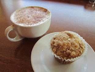 pumpkin pie spice coffee and muffin