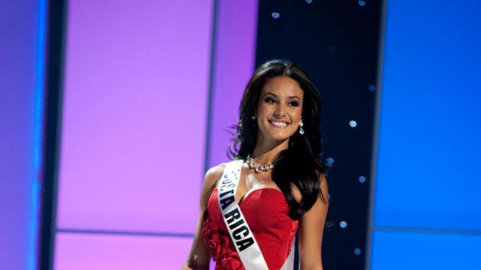 "Miss Costa Rica 2011, Johanna Solano competes in her choice evening gown, as one of the top 10 contestants, during the ""60th Annual Miss Universe"" presentation show from São Paulo, Brazil."