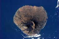 The inactive volcano in the Fogo National Park, Cape Verde is shown in this photo by Canadian astronaut Chris Hadfield on board the International Space Staion (ISS) on April 2, 2013.