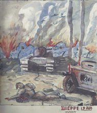 Paul Dumaine painted this scene of the Dieppe Raid while in Prisoner of War Camp, 1944. Photo courtesy of Historica-Dominion Institute.