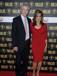 U.S actors Patrick Duffy and Linda Gray arrive for the Dallas launch party at a central London venue, Tuesday, Aug. 21, 2012. (AP Photo/Jonathan Short)