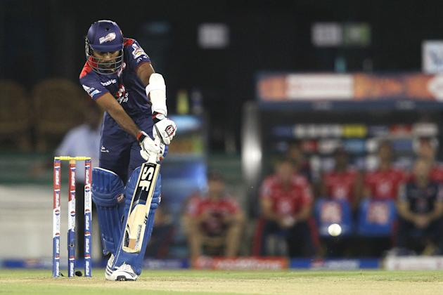 Delhi Daredevils captain Mahela Jayawardene plays a delivery through the leg side during match 44 of the Pepsi Indian Premier League between The Delhi Daredevils and the Kolkata Knight Riders held at