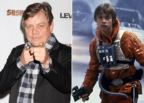 Mark Hamill now and as Luke Skywalker in 'The Empire Strikes Back'