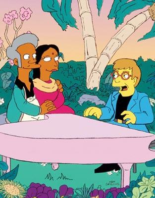 Apu (voiced by Dan Castellaneta) and Manjula (guest star Jan Hooks) get a Valentine's song from Elton John in the episode 'I'm With Cupid.' Fox's The Simpsons