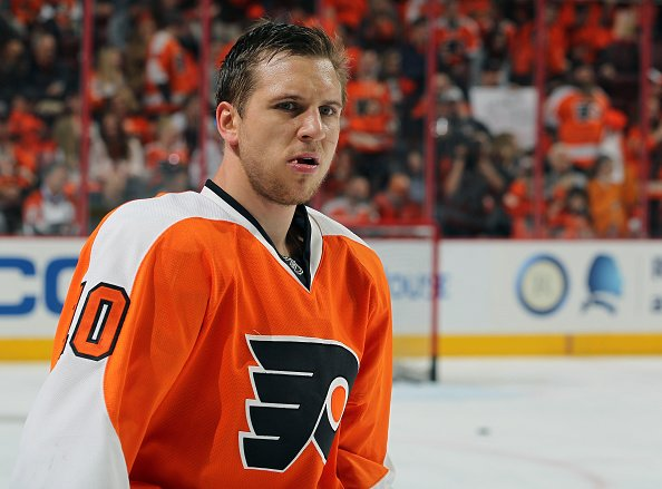 PHILADELPHIA, PA - APRIL 24: Brayden Schenn #10 of the Philadelphia Flyers looks on during warm-ups prior to playing the Washington Capitals in Game Six of the Eastern Conference First Round during the 2016 NHL Stanley Cup Playoffs at the Wells Fargo Center on April 24, 2016 in Philadelphia, Pennsylvania. (Photo by Len Redkoles/NHLI via Getty Images)