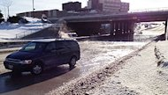 A watermain break flooded the Route 90 underpass near Portage Avenue Thursday morning.