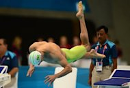 "Brazil's Cesar Cielo dives during the men's 100m freestyle heats at the London 2012 Olympic Games, on July 31. Cielo launches his defence of the 50m freestyle title on Thursday seeking to extend his dominance in the one-lap ""splash and dash."""
